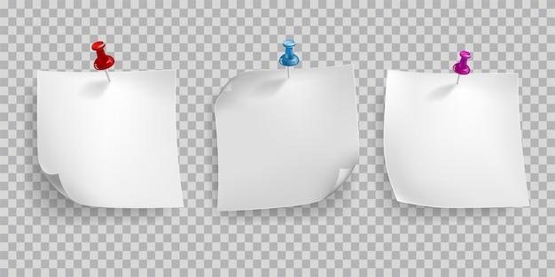 Quadro realista retrô com papel e pino isolado na transparente Vetor Premium