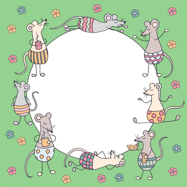 Quadro redondo com engraçados engraçados ratos e camundongos e flores coloridas sobre fundo verde, símbolo de 2020 Vetor Premium