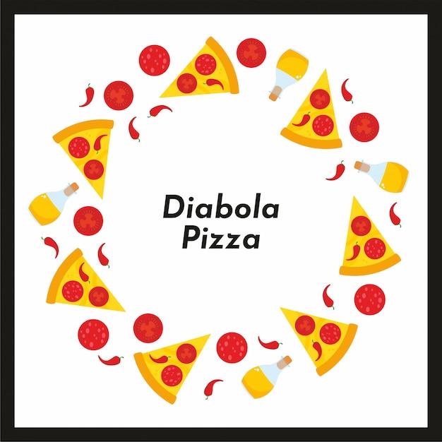 Quadro redondo de vetor de pizza e ingredientes. Vetor Premium