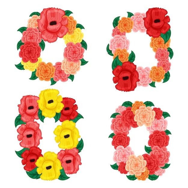 Quadro redondo e quadrado floral com rosa e hibistus isolado no fundo branco Vetor Premium