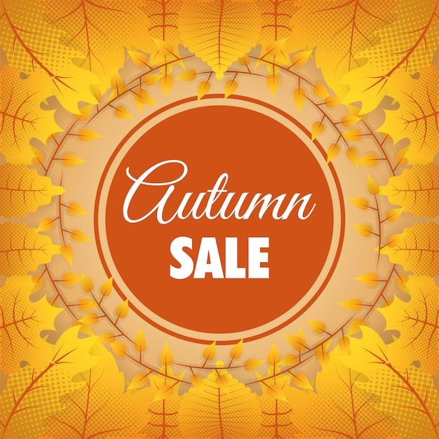 Quadro sazonal circular de venda outono Vetor grátis