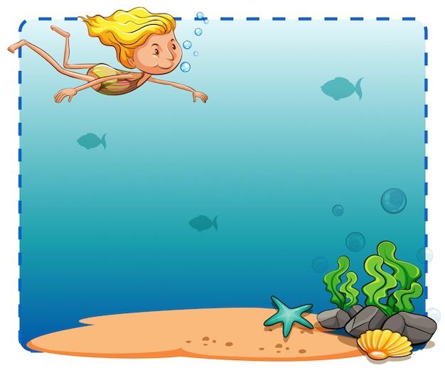 Quadro subaquático Vetor grátis