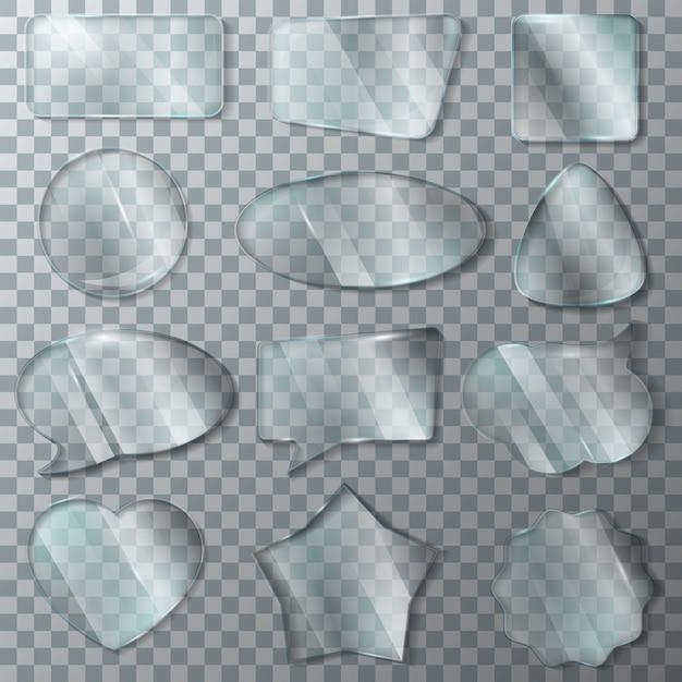 Quadro transparente em branco brilhante de vidro vector transparência e vidro vazio janela coração vidro conjunto de discurso realista bolha brilhante Vetor Premium