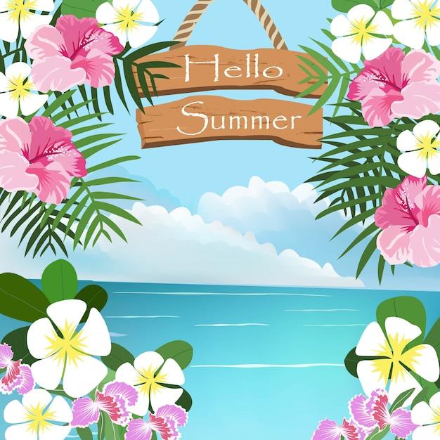 Quadro tropical bonito do seascape e da flor. Vetor Premium