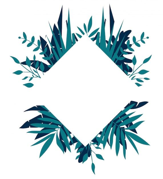 Quadro tropical de losango, modelo com lugar para texto Vetor Premium