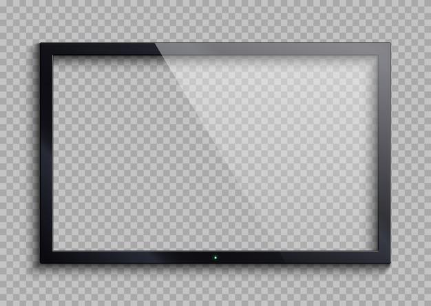 Quadro vazio da tevê com a tela da reflexão e da transparência isolada. ilustração em vetor monitor lcd Vetor Premium