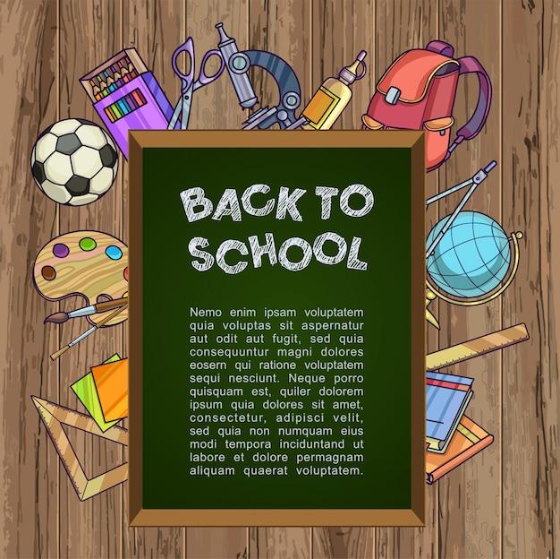 Quadro verde com material escolar - volta ao conceito de escola Vetor Premium
