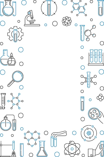 Quadro vertical com ilustração de ícone de contorno de química Vetor Premium