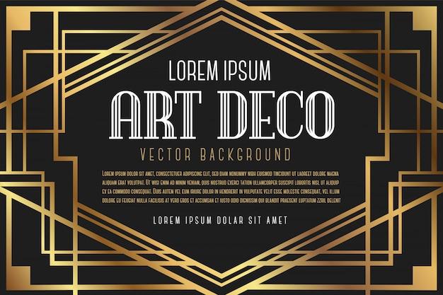 Quadro vintage artdeco de luxo Vetor Premium