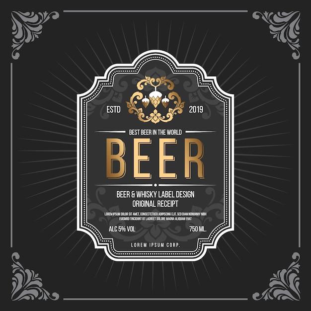 Quadro vintage clássico para banner de rótulos de cerveja Vetor Premium
