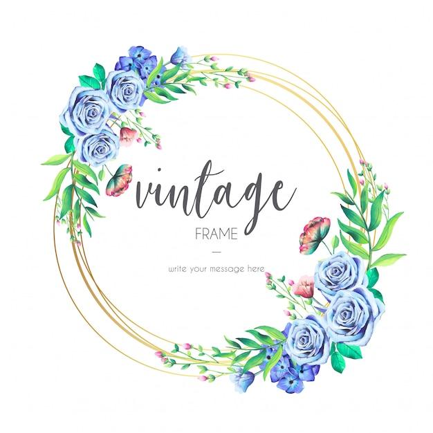 Quadro vintage com flores azuis Vetor grátis