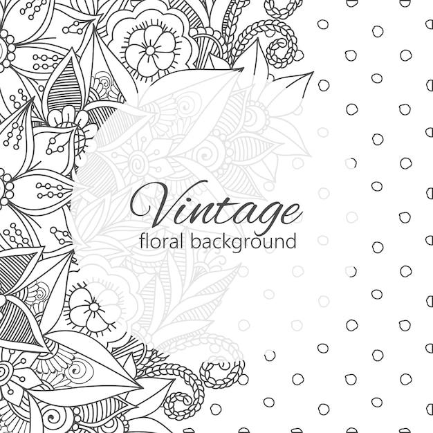 Quadro vintage com flores zentangle Vetor grátis