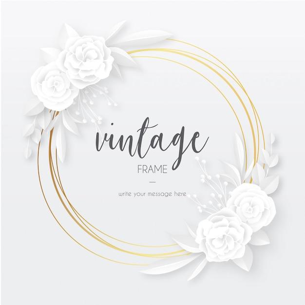 Quadro vintage elegante com flores brancas papercut Vetor grátis