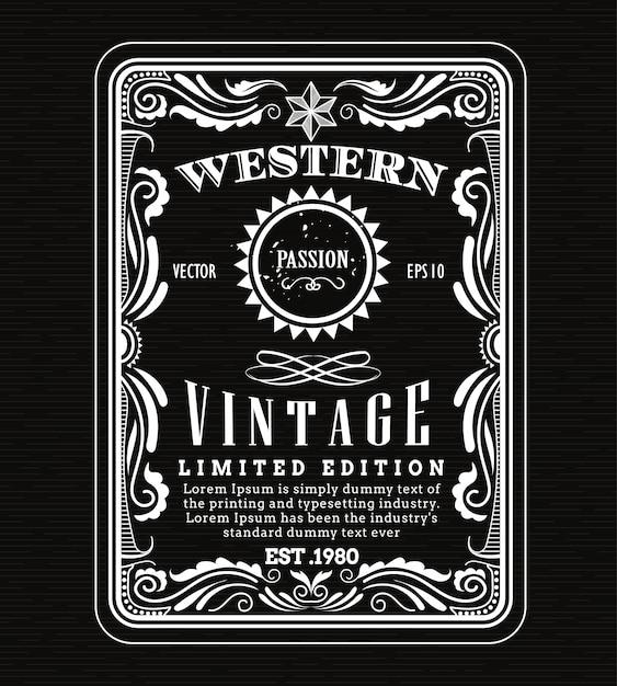 c0829e999c447 Quadro vintage fronteira ocidental rótulo retrô moldura mão ...
