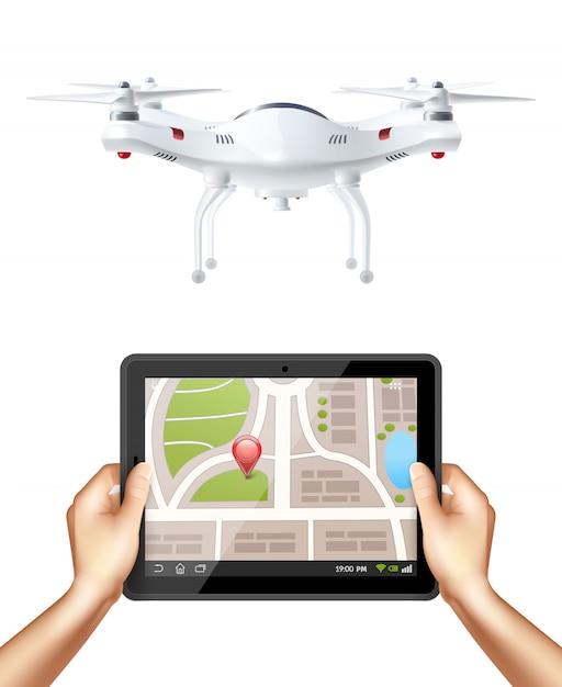Quadrocopter e mãos segurando tablet Vetor grátis