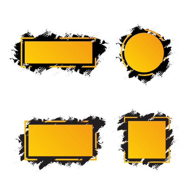 Quadros amarelos com pinceladas de preto para texto, formas diferentes de banners Vetor Premium