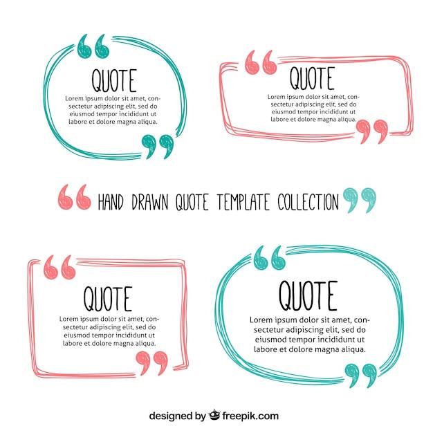 Quadros bonito citações desenhados mão Vetor grátis