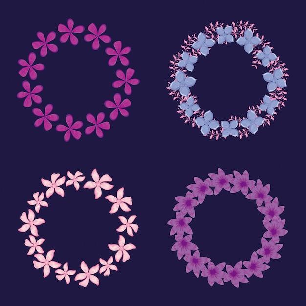 Quadros circulares de decorações florais Vetor Premium
