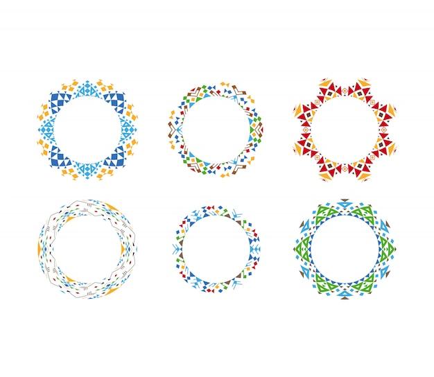 Quadros cirulares ornamentais étnicos coloridos Vetor Premium