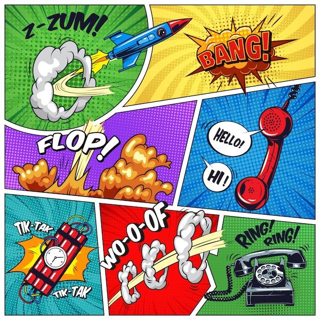 Quadros coloridos pop art com objetos Vetor grátis