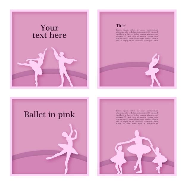 Quadros de bailarinos Vetor Premium