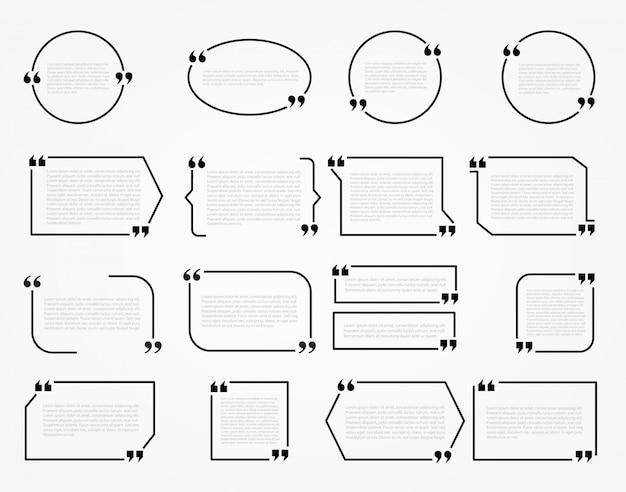 Quadros de citação, modelo em branco com citação de design de informações de impressão Vetor Premium