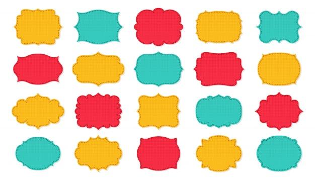Quadros de etiqueta patch conjunto de desenhos animados. etiqueta de etiqueta de design de página de recados. coleção decorativa moldura vazia com padrão, em camadas costurado. silhueta de cor, vários banner de forma. ilustração isolada Vetor Premium