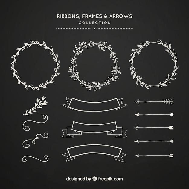 Quadros de fitas e coleção de flechas em estilo de lousa Vetor grátis