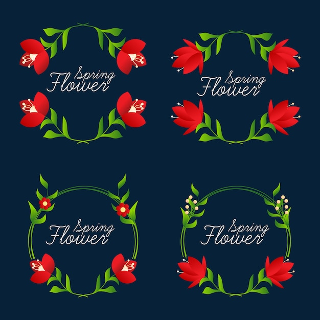 Quadros de flor bonita coleção Vetor Premium