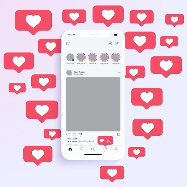 Quadros de foto de mídia social são exibidos no aplicativo móvel com notificação de coração semelhante Vetor Premium