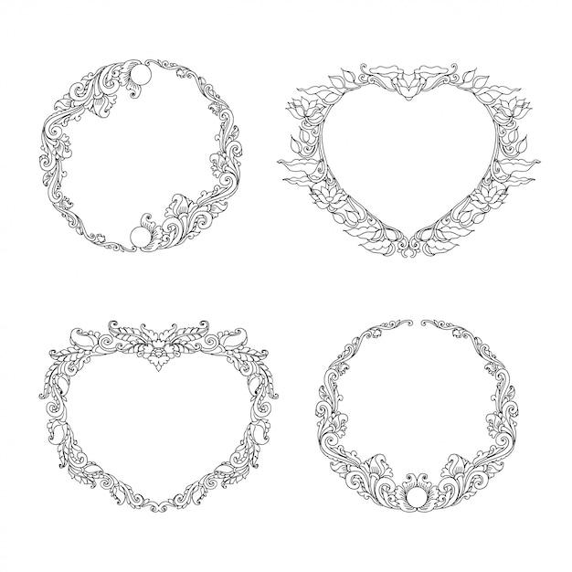Quadros de ornamento floral redondo e em forma de coração Vetor Premium