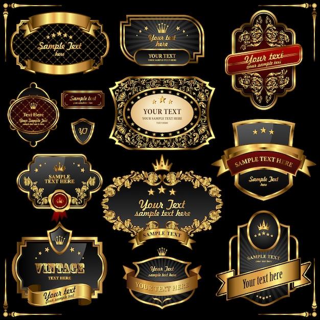 Quadros de ouro retrô vector em fundo preto Vetor Premium