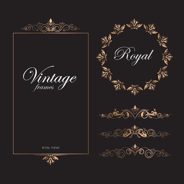 Quadros de ouro retrô vintage padrão royal tema Vetor Premium