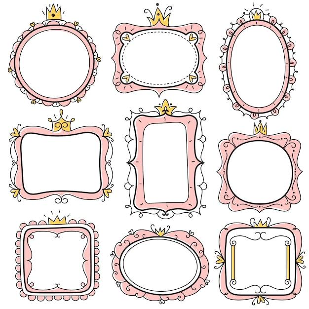 Quadros de princesa. molduras de espelho floral fofo rosa com coroa, bordas de certificado de crianças. conjunto de cartão de convite de aniversário de menina Vetor Premium