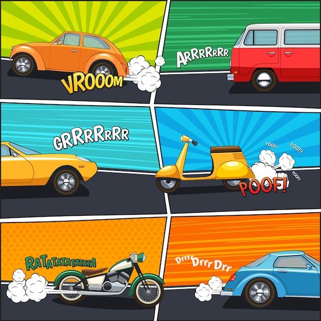 Quadros de quadrinhos de transporte com carros em movimento van motocicleta e scooter Vetor grátis