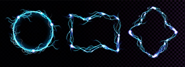 Quadros de raios, bordas de raio azul elétrico, portais mágicos, ataque de energia. Vetor grátis