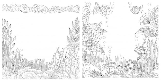 Quadros de recifes de corais conjunto com copyspace para impressão. ilustração Vetor Premium