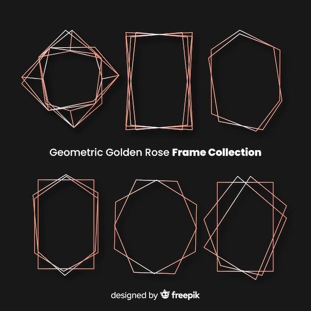 Quadros de rosas dourados geométricos Vetor grátis