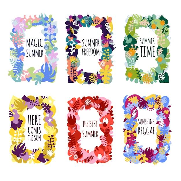 Quadros florais abstratos Vetor grátis