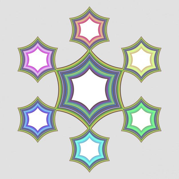 Quadros luminosos com estrelas coloridas Vetor grátis