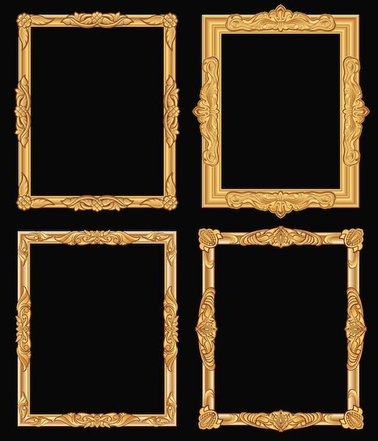 Quadros quadrados ornamentado do ouro do vintage isolados. beiras douradas de luxo brilhante retrô. Vetor Premium