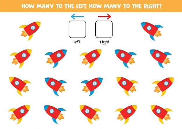 Quantos foguetes vão para a esquerda e para a direita, contando jogo para crianças. Vetor Premium