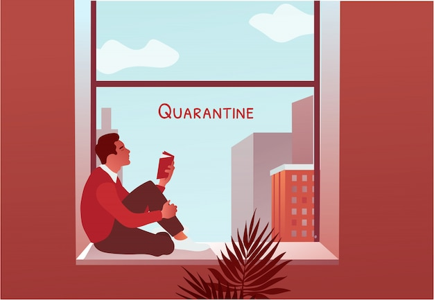 Quarentena 2019-ncov. homem lendo livro perto da janela. bloqueio em casa. Vetor Premium