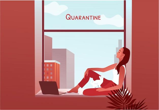 Quarentena 2019-ncov. mulher olhando pela janela Vetor Premium