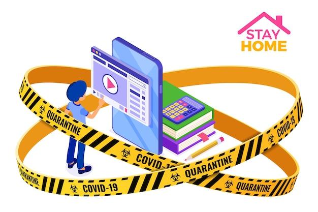 Quarentena covid-19, educação on-line para ficar em casa ou exame à distância com caráter isométrico Vetor Premium