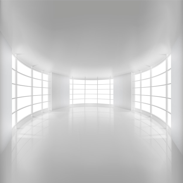 Quarto arredondado branco iluminado pela luz solar para o fundo Vetor Premium