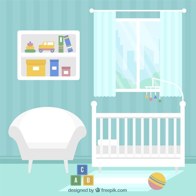Quarto azul bebê com móveis brancos Vetor Premium