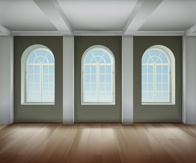 Quarto com fundo de janelas arqueadas Vetor grátis