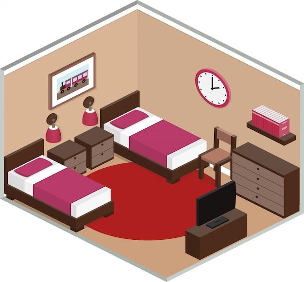 Quarto com móveis, incluindo duas camas e tv. interior moderno em estilo isométrico. ilustração d. Vetor Premium