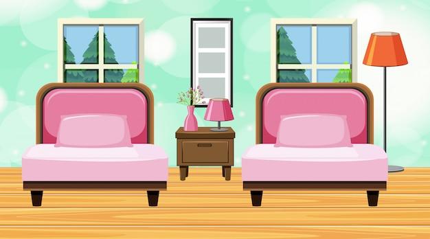 Quarto com sofá rosa e almofadas Vetor Premium
